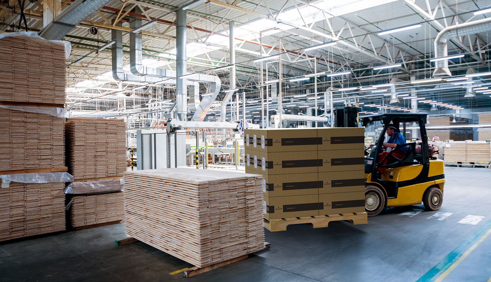 forklift moving packaging in a factory
